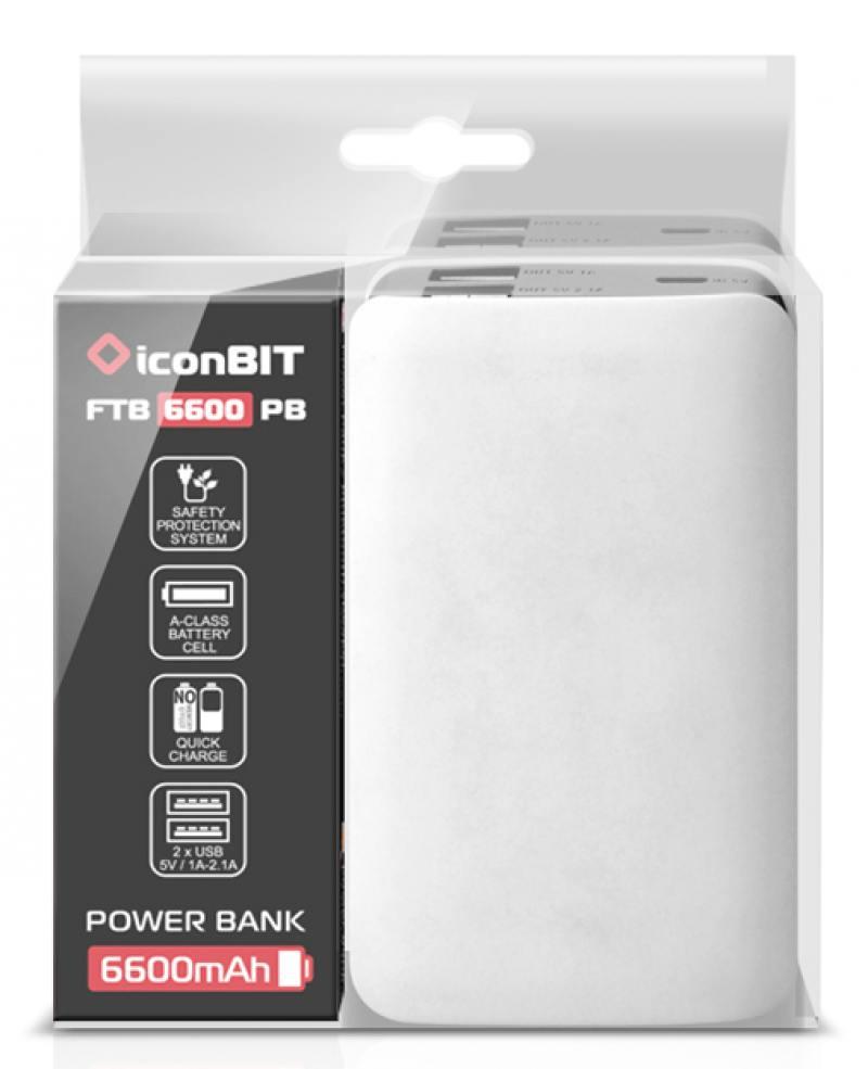 Портативное зарядное устройство IconBIT FTB6600PB 6600mAh белый