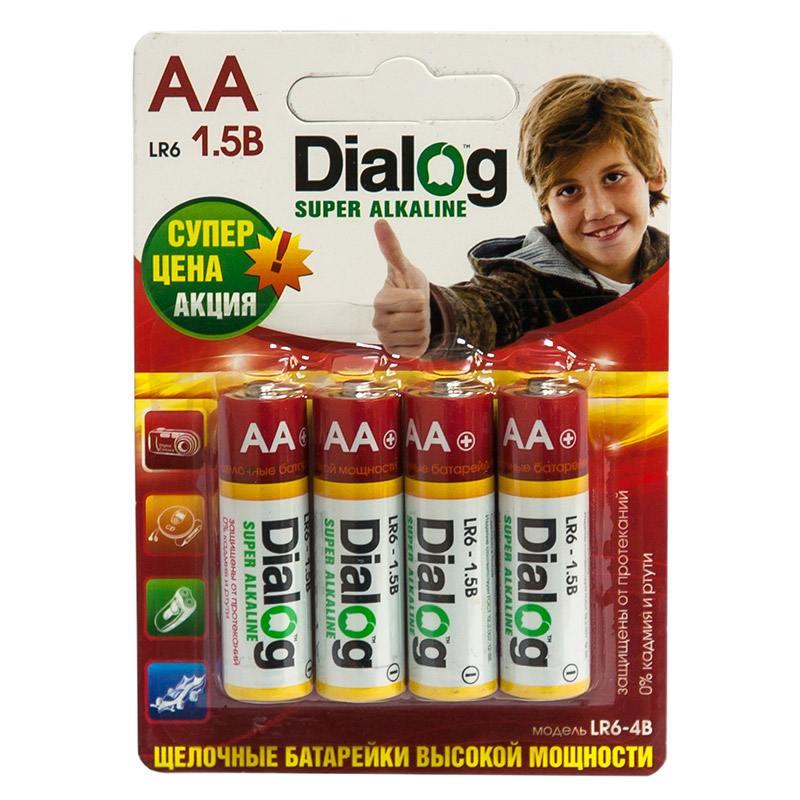 Батарейки Dialog LR6-4B AA 4 шт батарейки samsung pleomax lr6 aa 10 шт