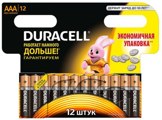 Батарейки LR03/AAA алкалиновые Duracell Basic 12шт батарейки aaa lr3 18шт duracell щелочные basic