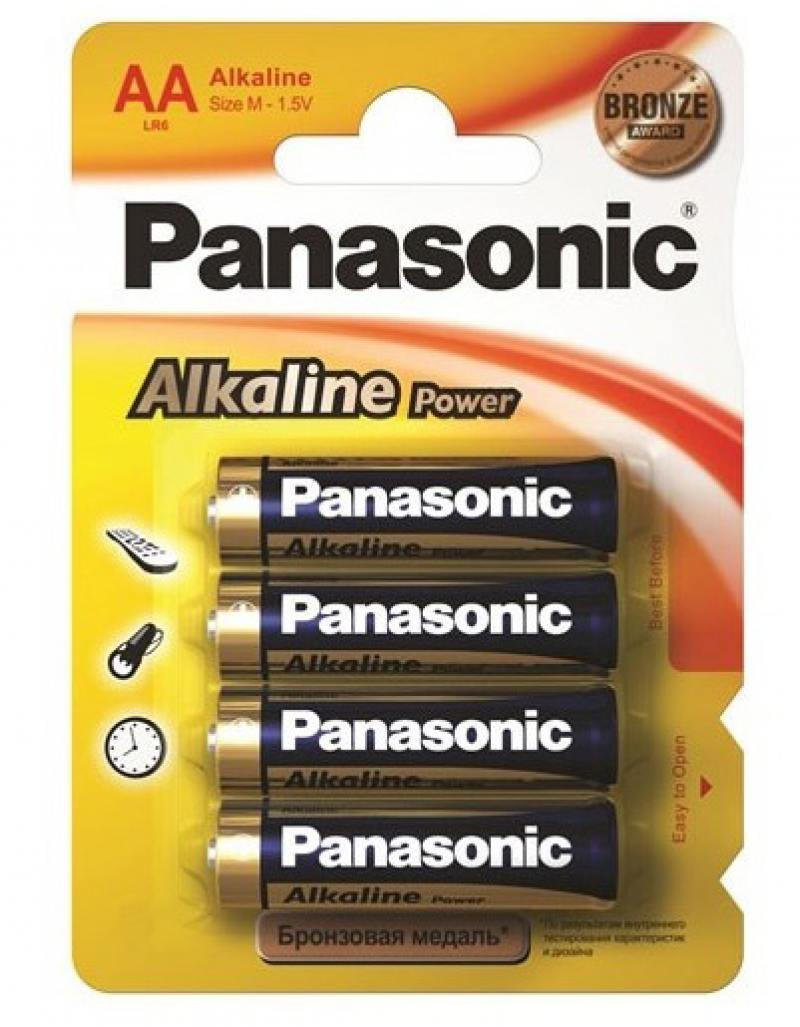 Батарейки Panasonic Alkaline Power LR6REB/4BP AA 4 шт литиевые дисковые батарейки panasonic panasonic cr 2025el 1b