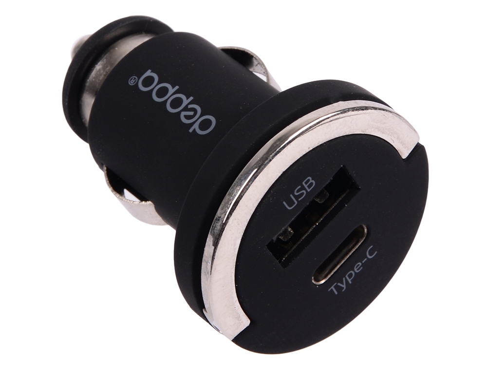 цена на Автомобильное зарядное устройство Deppa 11210 USB A + USB Type-C, 3.4A, черный, Ultra