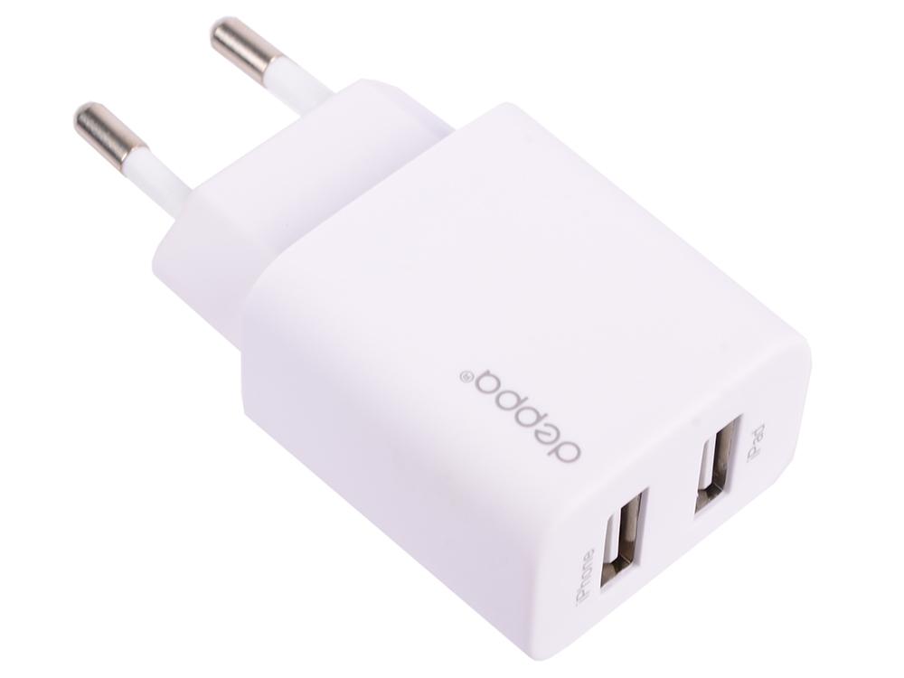 Сетевое зарядное устройство Deppa 11354 2 USB 2.1А, дата-кабель с коннектором lightning, белый, Ultra кабель deppa lightning usb 2 0 2м черный [72224]