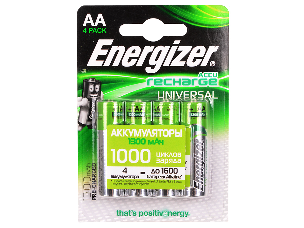 Аккумулятор Energizer Universal AA 1300 mAh 4шт. в блистере (638590/E300322101) батарейки energizer maximum aa 4шт в блистере 638635