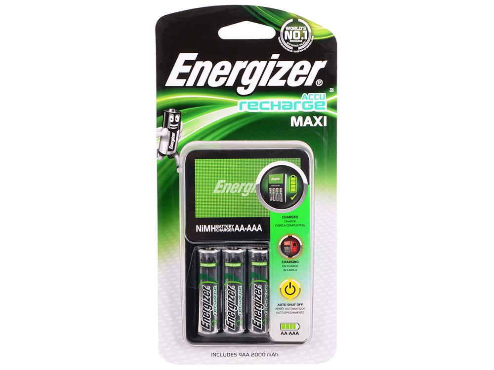 Зарядное устройство Energizer Maxi + 4шт. AA 2000 mAh (638582\E300321200) зарядное устройство energizer maxi 4шт aa 2000 mah 638582 e300321200