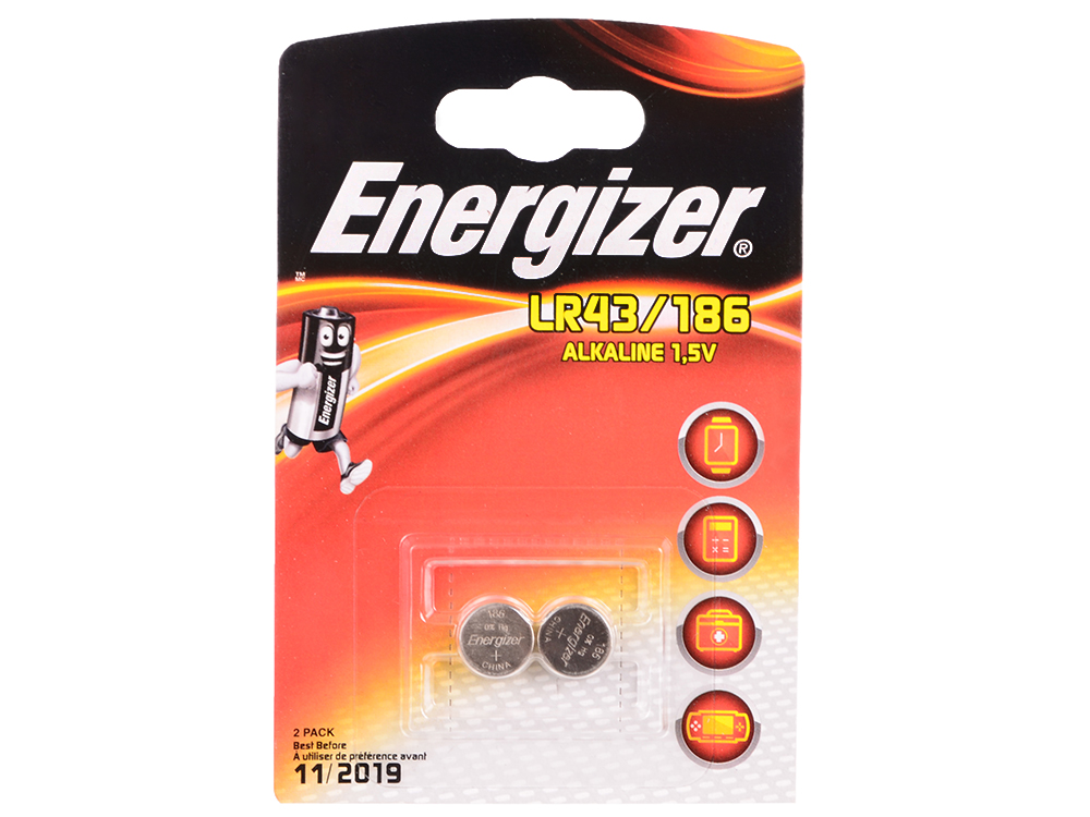 Батарейки Energizer Alkaline LR43/186 2шт. в блистере (639319) lr1 e90 energizer alkaline 1 штука