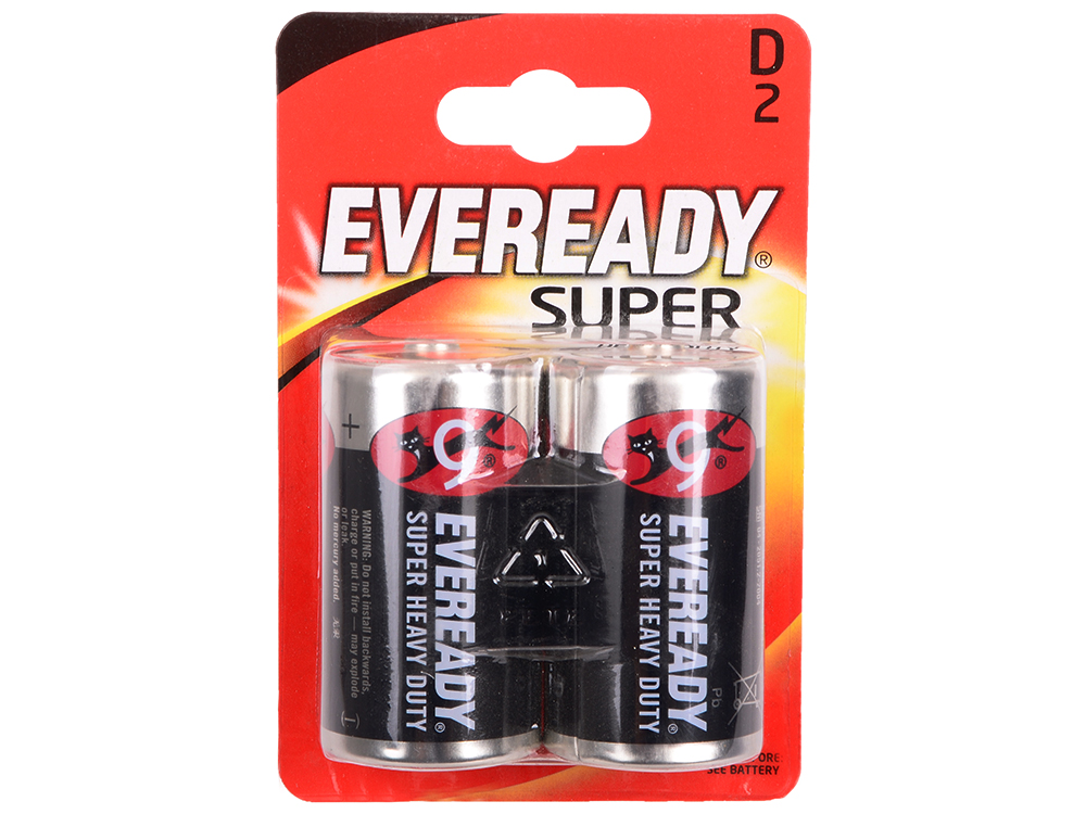 Батарейки Energizer Carbon Zinc Eveready D/R20 2шт. в блистере (637087)