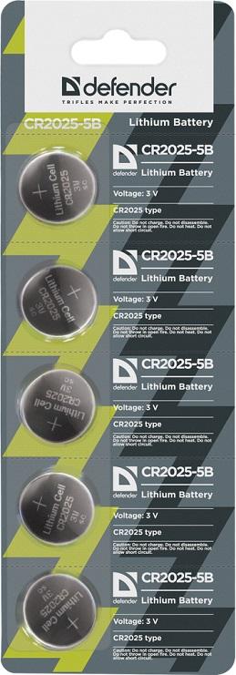 Батарейка Defender литиевая CR2025-5B в блистере 5 шт