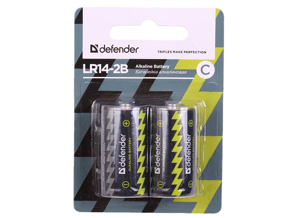 Батарейка Defender алкалиновая LR14-2B С, в блистере 2 шт цена