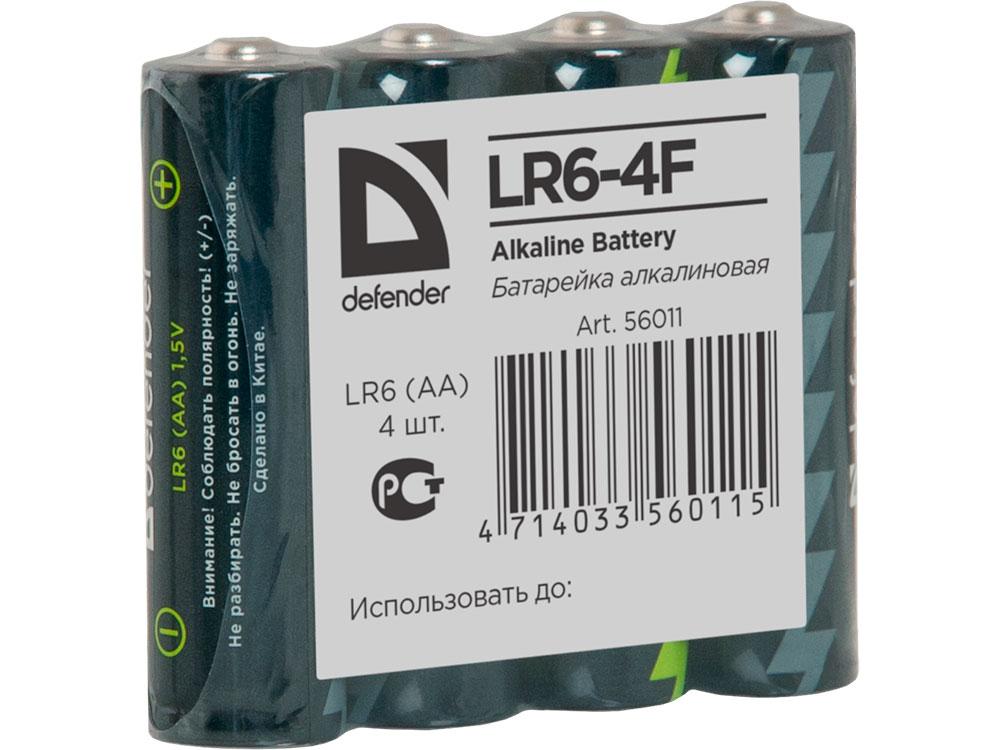 Батарейка Defender алкалиновая LR6-4F AA, в пленке 4шт