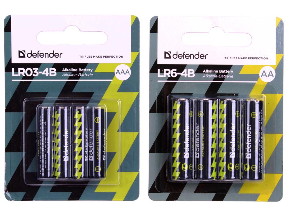Батарейки DEFENDER LR06 (AA) Alkaline + LR03-8B (AAA) Alkaline в блистере по 4 шт