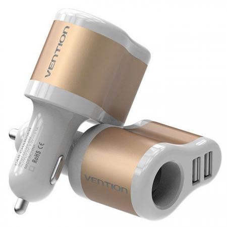 Автомобильное зарядное устройство Vention CJBW0 3.1А 2 х USB золотой зарядное устройство soalr 16800mah usb ipad iphone samsug usb dc 5v computure