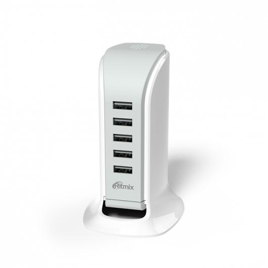 Сетевое зарядное устройство Ritmix RM-5055AC white ritmix rm 118 сетевое зарядное устройство
