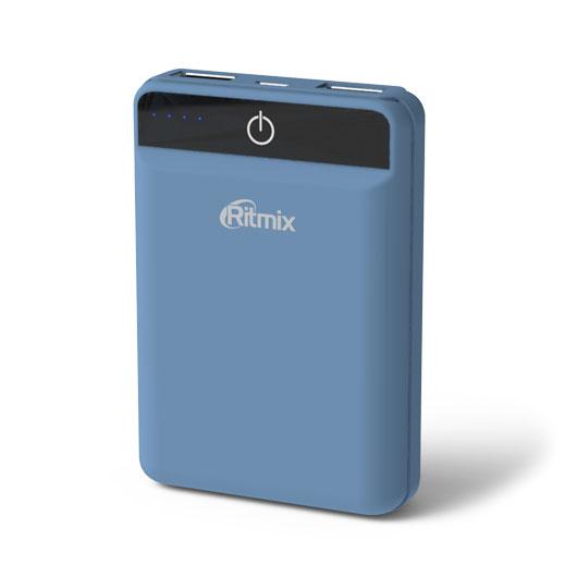 Портативное зарядное устройство Ritmix RPB-10003L smoky blue ritmix rpb 12077p silver внешний аккумулятор 12000 мач