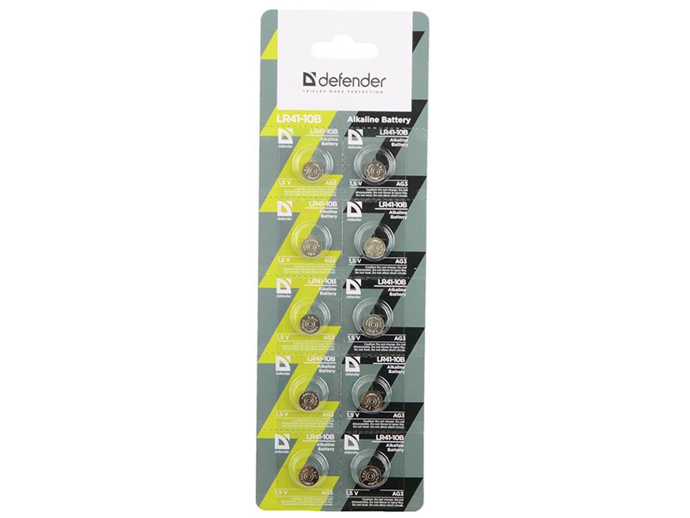 Батарейка Defender алкалиновая LR41-10B AG3, в блистере 10 шт goop ag3 lr41 392 192 1 5v alkaline cell button batteries 10 x 10pcs