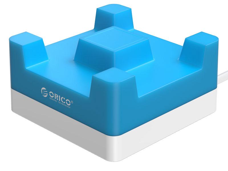 Сетевое зарядное устройство Orico CHA-4U-EU 4 x USB синий orico power strip eu plug 6 outlet surge protector eu power strip with 5x2 4a usb super charger ports white hpc v1