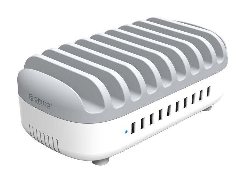 Сетевое зарядное устройство Orico DUK-10P (белый/серый) orico duk 10p 120w 10 port usb charging station with stands