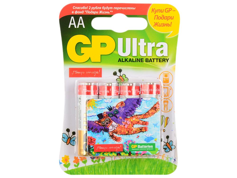 Батарейки Alkaline GP 15AUGL-2CR4 Подари жизнь АА 4 шт. gp pb550gs250 2cr4