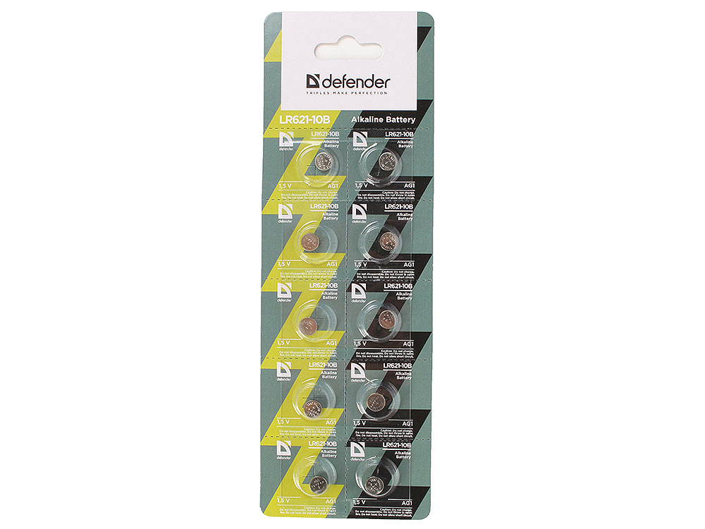 Батарейка Defender алкалиновая LR621-10B AG1, в блистере 10 шт ag1 lr621 1 55v alkaline cell button batteries 10 piece pack
