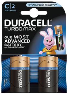 Батарейки Duracell Turbo MAX LR14-2BL C (2шт) аккумуляторы duracell recharge turbo ааа 850 мач 2 шт
