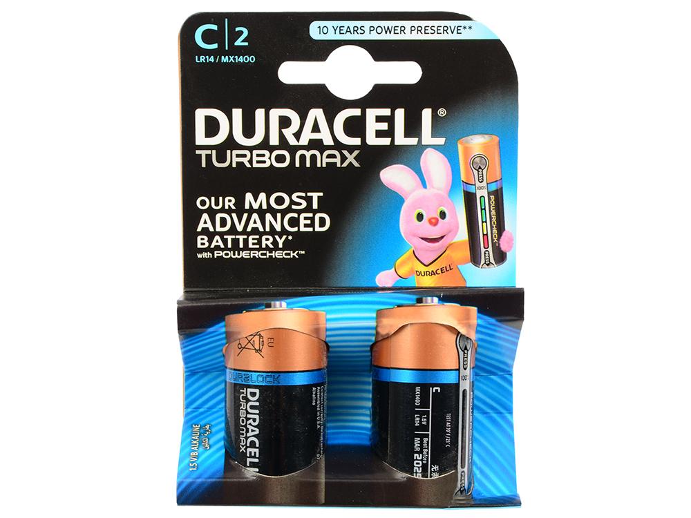 Батарейки Duracell Turbo MAX LR14-2BL C (2шт) duracell lr6 2bl turbo 2шт aa