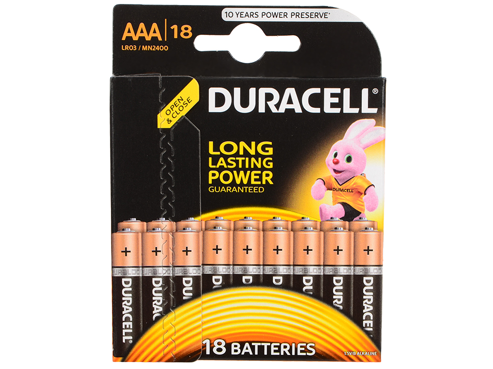 Батарейки Duracell (ААА) LR03-18BL BASIC 18 шт батарейки duracell mn21 b1 security 12v alcaline