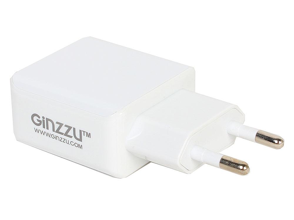 цена на Зарядное устройство/адаптер питания USB от эл.сети GINZZU GA-3313UW 2xUSB 3,1A 5V белый + кабель Apple Lightning 1м