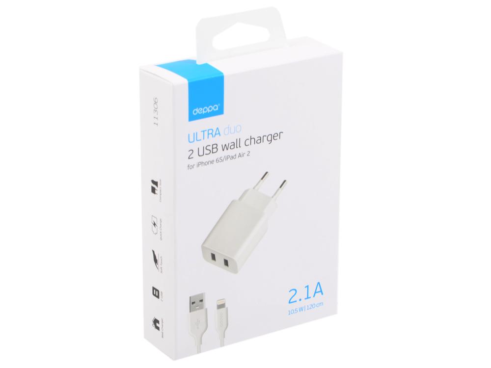 цена на Сетевое зарядное устройство Deppa 2 USB 2.1А, дата-кабель 8-pin для Apple, белый, Ultra, 11306