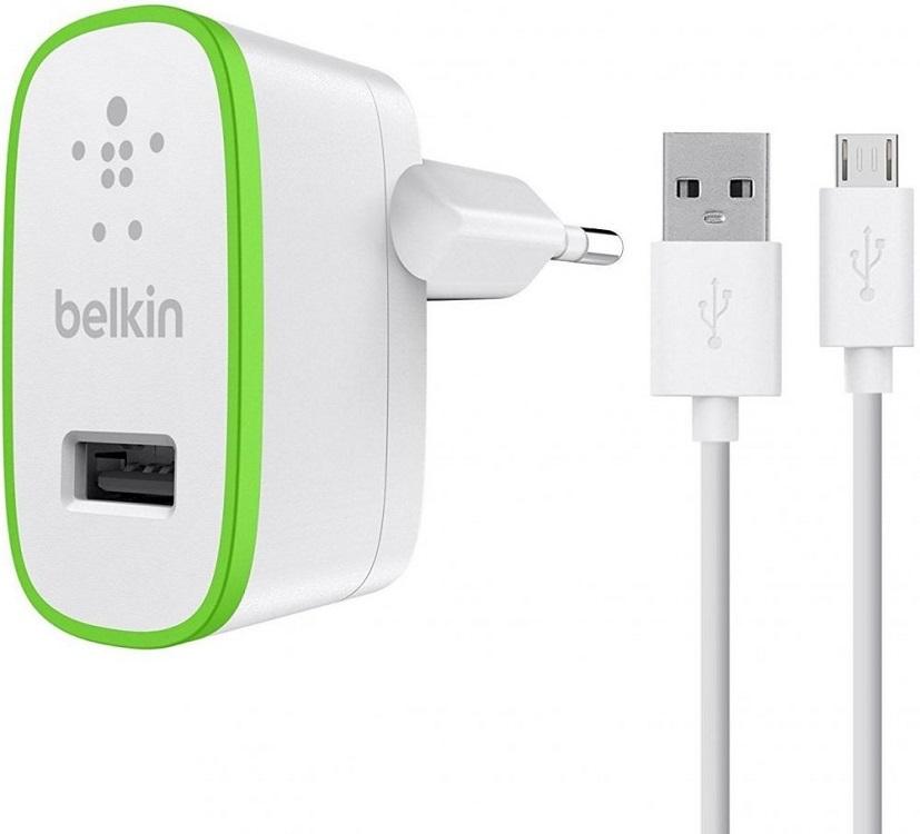 Сетевое зарядное устройство Belkin F8M886vf04-WHT 2.4А USB белый belkin belkin 302617