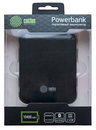 Фото Внешний аккумулятор Power Bank 10400 мАч Cactus CS-PBHTST-10400 черный внешний аккумулятор cactus cs pbpt18 18000al 18000mah silver