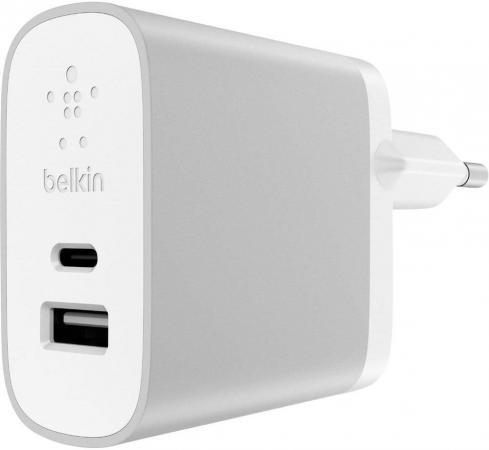 Сетевое зарядное устройство Belkin F7U011vfSLV 3/2.4 A USB USB-C серебристый сетевое зарядное устройство belkin f8z884cw04 usb кабель 30pin
