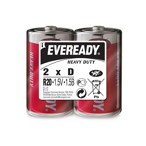 ENERGIZER Батарейка солевая Eveready R20 тип D 2шт батарейка d energizer eveready super r20 ni mh 2 штуки