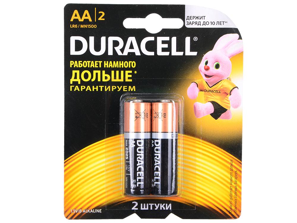 Батарейки DURACELL (АА) LR6-2BL BASIC CN 2 шт батарейки duracell аа lr6 4bl basic cn 4 шт