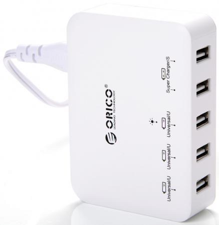 Сетевое зарядное устройство Orico DCAP-5S-WH 5xUSB белый сетевое зарядное устройство orico dcv 4u eu wh 2 4а 4 x usb белый