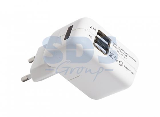 Сетевое зарядное устройство 2xUSB, переходник+адаптер (СЗУ) (5V, 2 100mA+1000mA) REXANT зарядное устройство remax rb t11c 2xusb 5v 2 1a bluetooth headset gold 71773