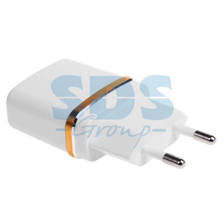 Сетевое зарядное устройство USB (СЗУ) (5V, 2100 mA) белое с золотой полоской REXANT зарядное устройство belsis 2xusb 2100 ma black bs1401