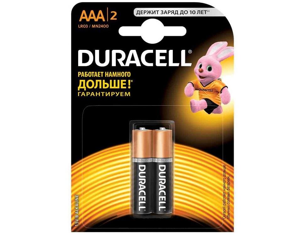 Батарейки DURACELL (ААА) LR03-2BL BASIC duracell
