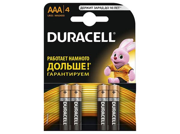 Батарейки DURACELL (ААА) LR03-4BL BASIC батарейки duracell аа lr6 4bl basic cn 4 шт