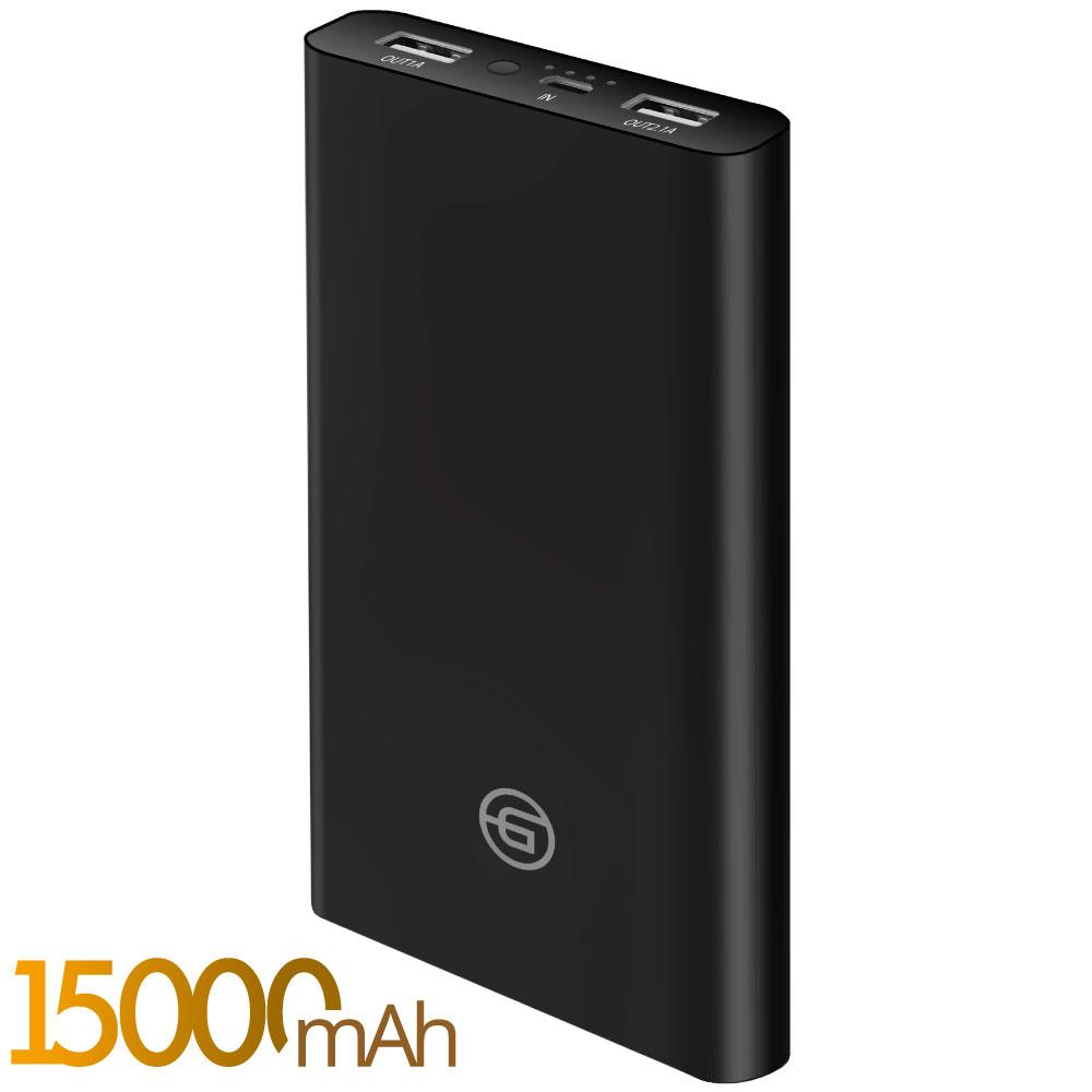 Внешний аккумулятор Ginzzu GB-3915B, 15,0Ah/5V/2.4A/2USB, черный аккумулятор для ибп ginzzu gb 1270