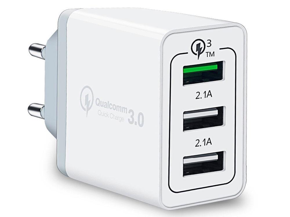 Зарядное устройство/адаптер питания USB от эл.сети ORIENT QC-12V3W Quick Charge 3.0, 3 x USB: QC выход - 5В,3.0A или 9В,1.67А или 12В,1.25А; Белый зарядное устройство orient pu 2402 black