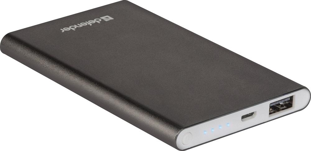 Внешний аккумулятор Defender ExtraLife 4000B Li-pol, 1 USB, 4000 mAh, 2.1A аккумулятор defender tesla 5000 83638