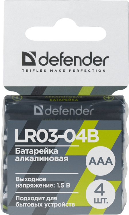 купить Батарейка алкалиновая Defender LR03-04B AAA, в блистере 4 шт онлайн