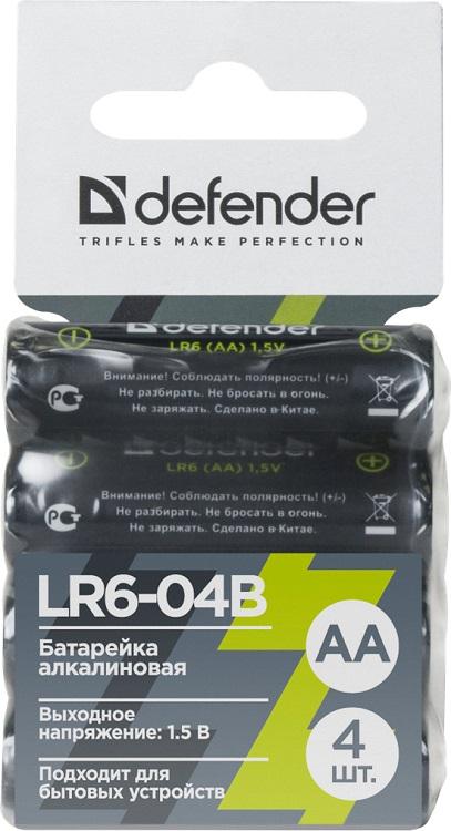 Батарейка алкалиновая Defender LR6-04B AA, в блистере 4 шт