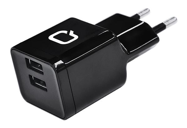 Сетевое зарядное устройство Qumo Energy (Charger 0061), 2 USB, 3.1A, черный