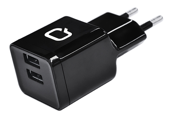Сетевое зарядное устройство Qumo Energy (Charger 0062), 2 USB, 3.1A, Micro USB cable, черный dual usb car charger adapter micro usb data charging cable for lg nexus 5 green black