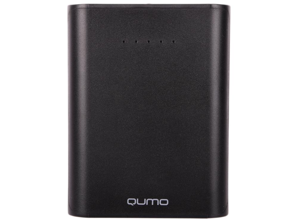 Внешний аккумулятор Qumo PowerAid 10400, 10400 мА-ч, 2 USB 1A+2A (2.1А сумм), вход до 1.5А, черный, корпус ABS пластик аккумулятор interstep pb104002u 10400 mah 2usb 2a white 43409