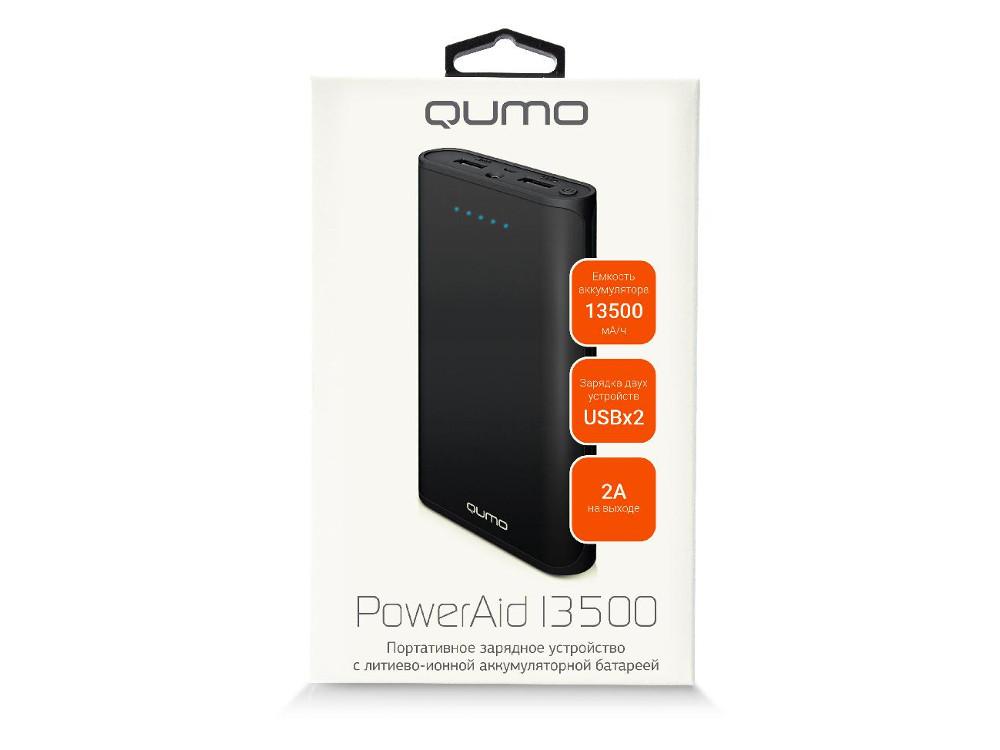 Внешний аккумулятор Qumo PowerAid 13500, 13500 мА-ч, 2 USB 1A+2A (2.1А сумм), вход до 1.5А, черный, корпус ABS пластик внешний аккумулятор qumo poweraid camper 4000 ма ч выход 5в 2 1а вход 5в 2а солнечная панель 900 ма