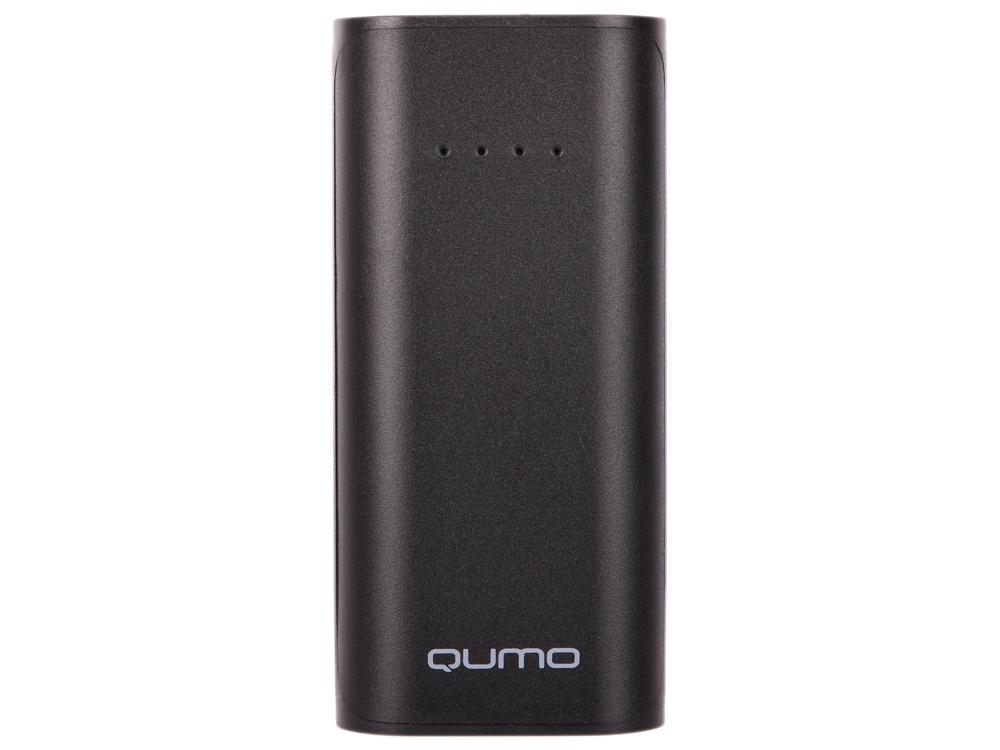 Внешний аккумулятор Qumo PowerAid 5200, 5200 мА-ч, 1xUSB 1A, вход до 1А, черный, корпус ABS пластик внешний аккумулятор qumo poweraid charm литий полимерный 3000 ма ч 1 usb 1a вход 1а форма пудренницы с зеркалом