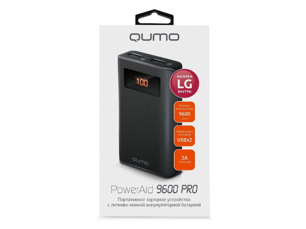 Внешний аккумулятор Qumo PowerAid 9600 PRO, 9600 мА-ч, 2 USB 1A+2A, вход до 2А, черный, корпус ABS пластик. батарея LG, LCD экран внешний аккумулятор qumo poweraid camper 4000 ма ч выход 5в 2 1а вход 5в 2а солнечная панель 900 ма