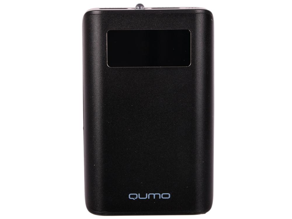 Внешний аккумулятор Qumo PowerAid 9600 PRO, 9600 мА-ч, 2 USB 1A+2A, вход до 2А, черный, корпус ABS пластик. батарея LG, LCD экран внешний аккумулятор qumo poweraid charm литий полимерный 3000 ма ч 1 usb 1a вход 1а форма пудренницы с зеркалом
