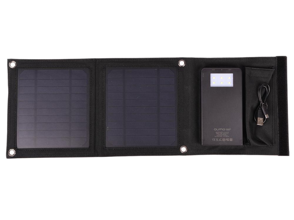Внешний аккумулятор Qumo PowerAid Camper, 4000 мА-ч, выход 5В 2.1А, вход 5В 2А, солнечная панель 900 мА внешний аккумулятор qumo poweraid charm литий полимерный 3000 ма ч 1 usb 1a вход 1а форма пудренницы с зеркалом